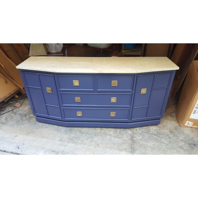 Vintage Campaign Regency Marble Top Painted Sideboard - Image 8 of 10