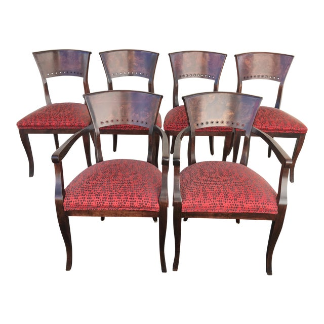 Italian Red Upholstered Wood Dining Chairs- Set of 6 - Image 1 of 10