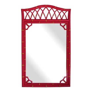 Vintage Red Lacquered Bamboo Style Mirror