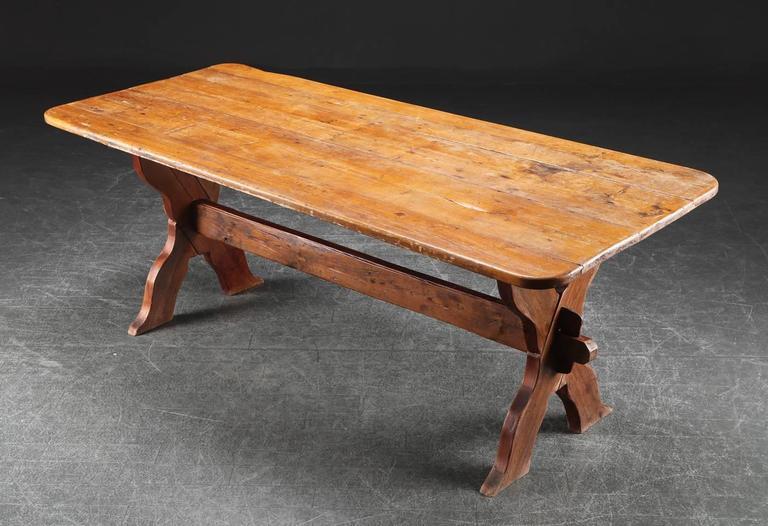 Vintage Danish Farm Trestle Table   Image 2 Of 4