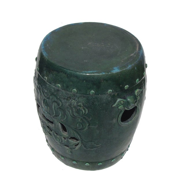 Chinese Green Round Lotus Clay Garden Stool - Image 4 of 4