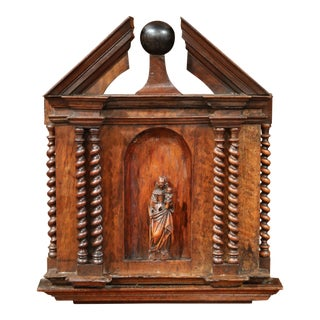 18th Century French Carved Walnut Panel Including Niche with Mother and Child