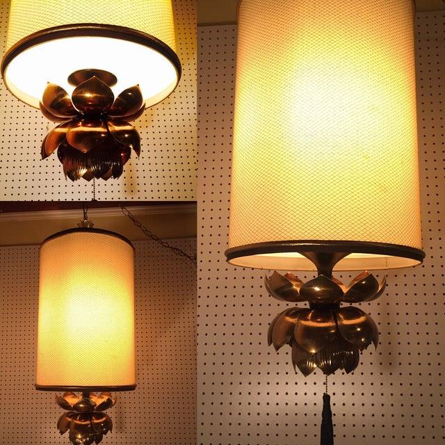 Feldman Brass Lotus Flower Hanging Drum Lamp - Image 5 of 8