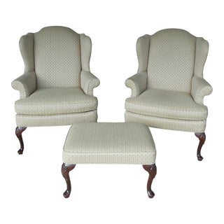 Sherrill Wing Back Chair & Ottoman 3 Piece Set