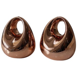 Polished Copper Modern Bookends by Ben Seibel for Jenfred Ware, 1950s