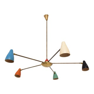 Mid Century Modern Italian Chandelier In the Style of Stilnovo with 5 Arms