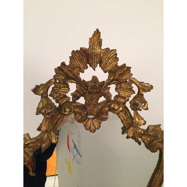 Antique Italian Gothic Gold Leaf Mirror - Image 9 of 11