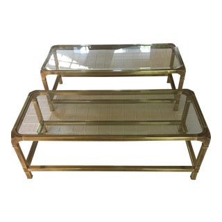 Mastercraft Solid Brass Coffee Tables - A Pair