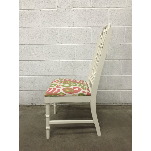 Image of White Bamboo Chair W/ Duralee Pink & Green Seat