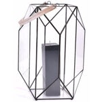 """Image of Faceted 24"""" Lantern with Leather Handle"""