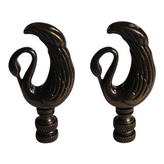 Art Deco-Style Bronze Swan Finials - a Pair