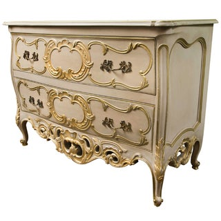 French Creme Peinte Bombe Commode