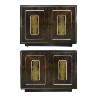 Romweber Nightstands with Brass, Pair