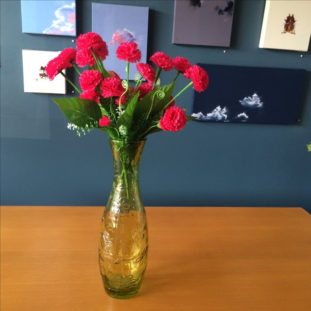 Green Glass Flower Vase - Image 10 of 10