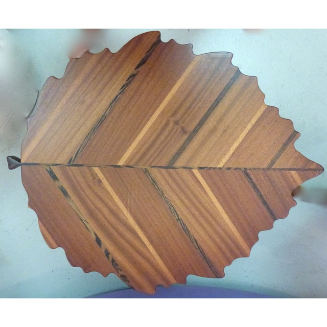 Handmade Wooden Leaf Shaped Side Tables - A Pair - Image 4 of 8