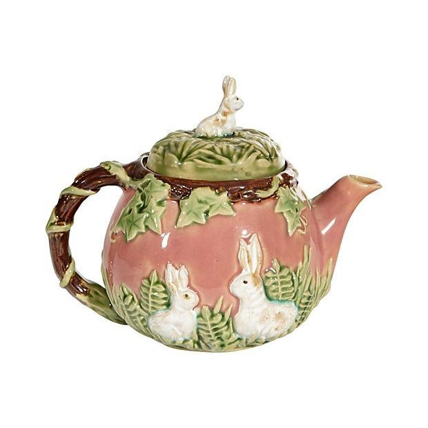 Majolica-Style Rabbit Motif Tea Set - Image 2 of 5