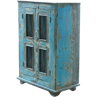Vintage Rustic Regatta Blue Wood Display Cabinet