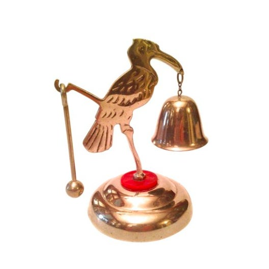 art deco chrome crane dinner bell chairish. Black Bedroom Furniture Sets. Home Design Ideas