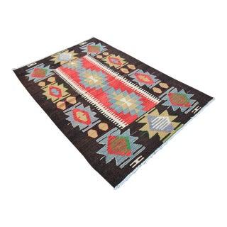 Vintage Turkish Tribal Oushak Handmade Flatwoven Kilim Rug - 3′1″ × 4′9″