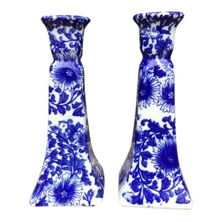 Blue & White Porcelain Candle holders - Set of 2