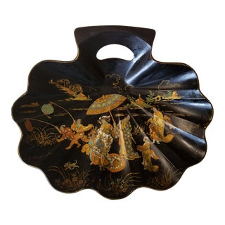 English 19th C. Paper Mache Chinoserie Motif Shell