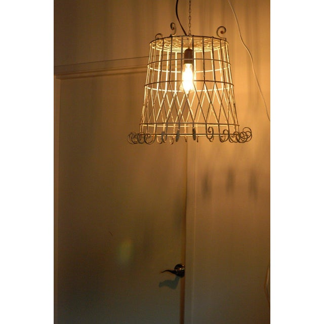 Antique Pendant Wire Cage Lamp - Image 4 of 5