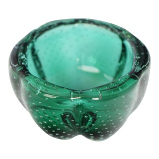 Vintage Murano Italian Emerald Green Bubbled Glass Bowl