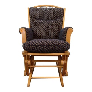 Dutailier Slide Sliding Carved Oak Upholstered Gliding Chair