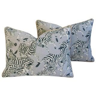Custom Safari Zebra Linen/Velvet Pillows - Pair