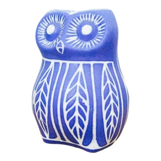 Vintage Blue Pottery Owl by Pablo Zabal