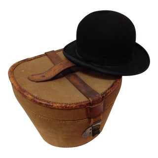 Antique Bowler Hat With Original Storage Case