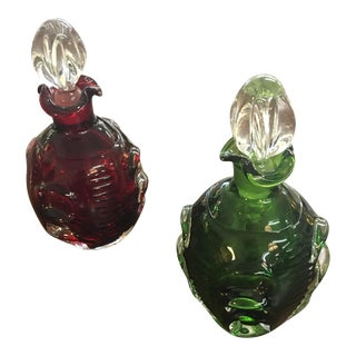 Swedish Art Glass Perfume Bottles - A Pair