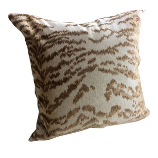 "Cowtan and Tout ""Rajah"" Beige Tiger Velvet & Down Pillow"