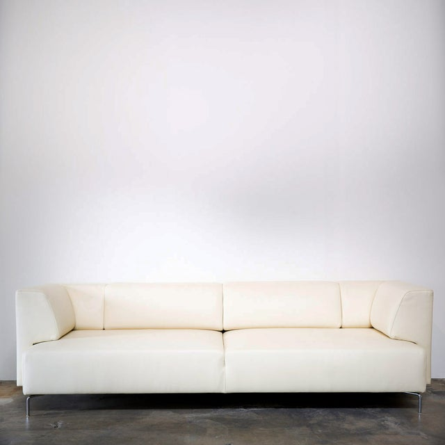 Maurice Villency Ivory Leather Sofa - Image 2 of 5