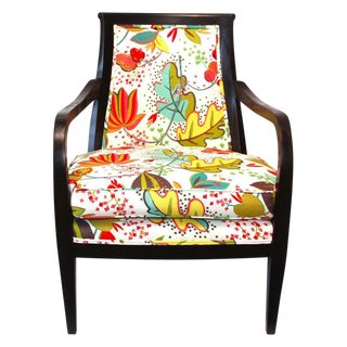 Floral Upholstered Wood Armchair