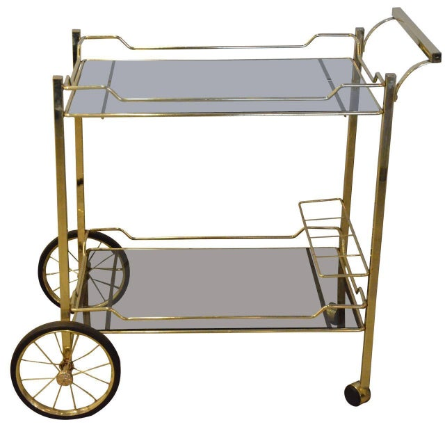 Brass with Smoke Glass Bar Cart - Image 1 of 7