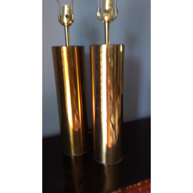Brass Style Cylinder Table Lamps After Kovacs - 2 - Image 4 of 7