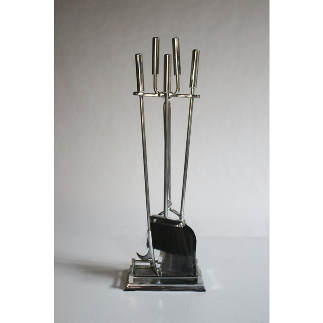 Modernist Chrome Fireplace Tool Set - Image 2 of 4