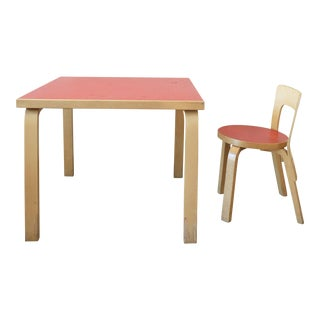 Vintage Artek Alvar Aalto Child's Table and Chair Set