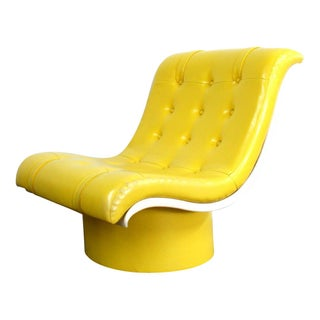 Spaceage Mod Yellow Tufted Lounge Chair