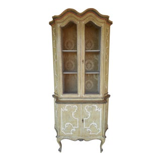 Antique Paint Distressed French Style 2pc Cabinet Curio