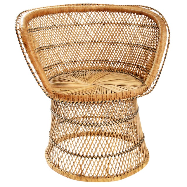 Image of Vintage Mid-Century Wicker Peacock Chair