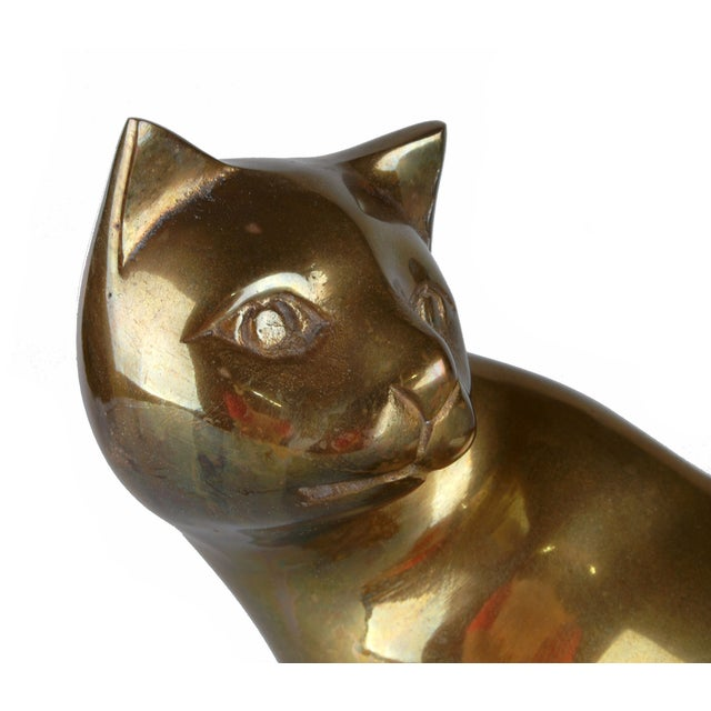 Handcrafted Solid Brass Cat - Image 4 of 6