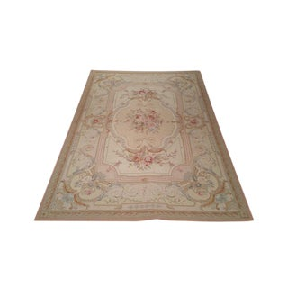 French Needlepoint Hand Made Knotted Rug - 6′ × 8′10″