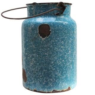 Vintage Blue Enamel Milk Pail