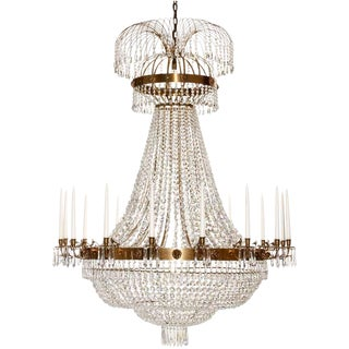 Empire 16 Arm Cognac Octagon and Drop Chandelier