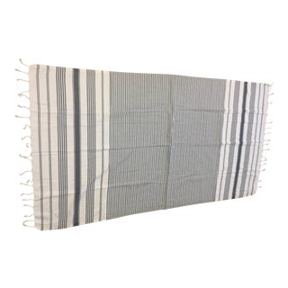 Turkish Charcoal Striped Bath Towel