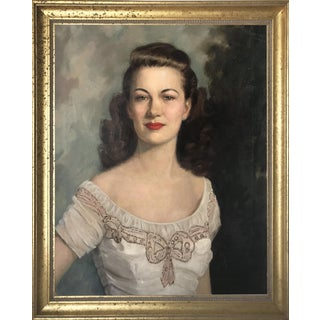 1950s Oil Portrait of an Elegant Woman