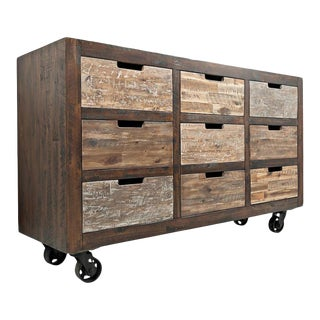 Distressed Industrial 9-Drawer Accent Chest