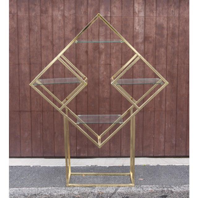 Image of Milo Baughman Style Brass Diamond Étagère